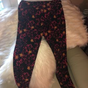 LulaRoe hot pink and orange leggings